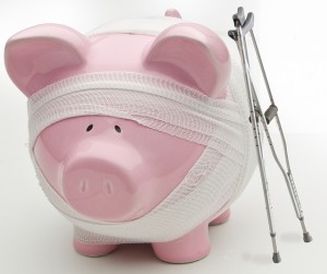 Injured Piggy Bank WIth Crutches
