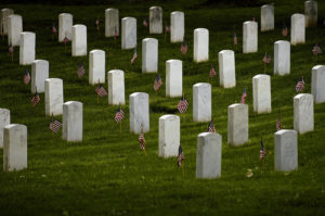 Arlington Cemetery, flags in.