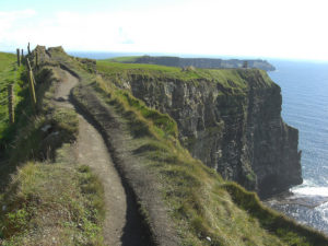 Dirt path along the top of Ireland's  Cliffs of Moher