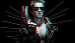 Arnold Schwarzenegger as the Terminator double image with red and blue ghosting