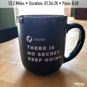 "coffee mug that reads: ""There's no secret. Keep going."""
